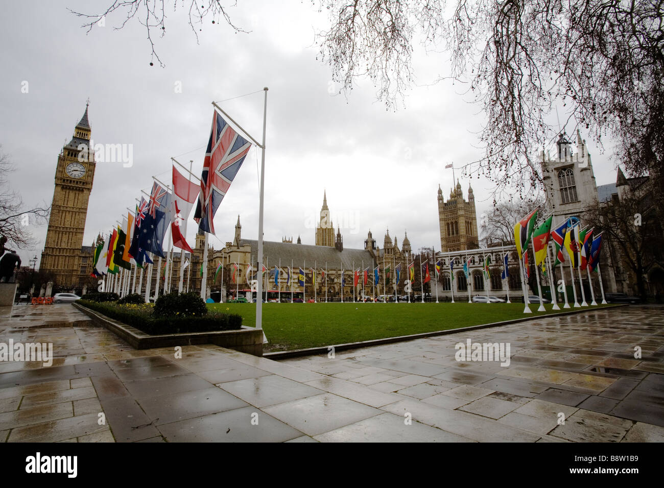 Parliament Square with the flags of the Commonwealth. - Stock Image