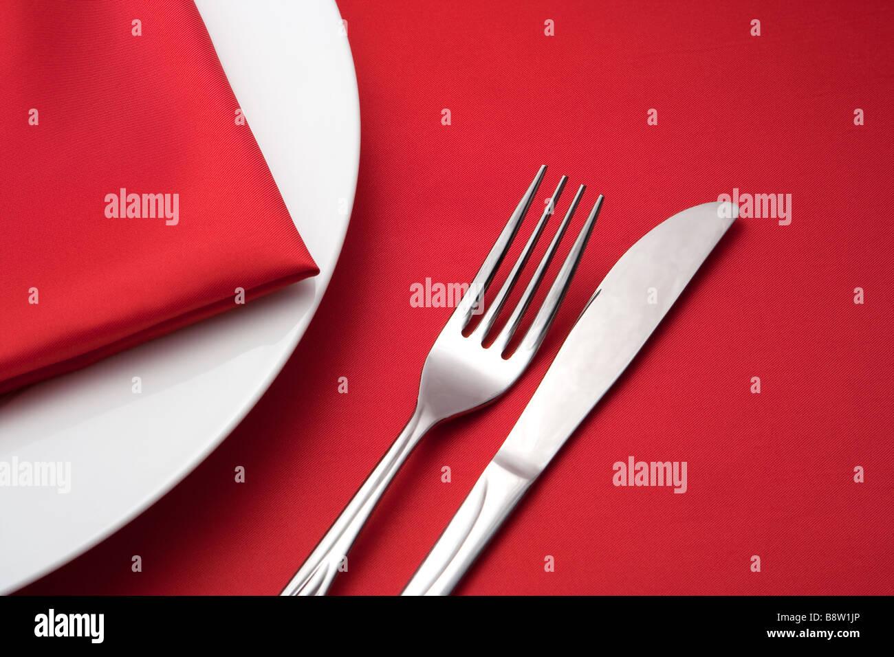 restaurant set for dinner - Stock Image