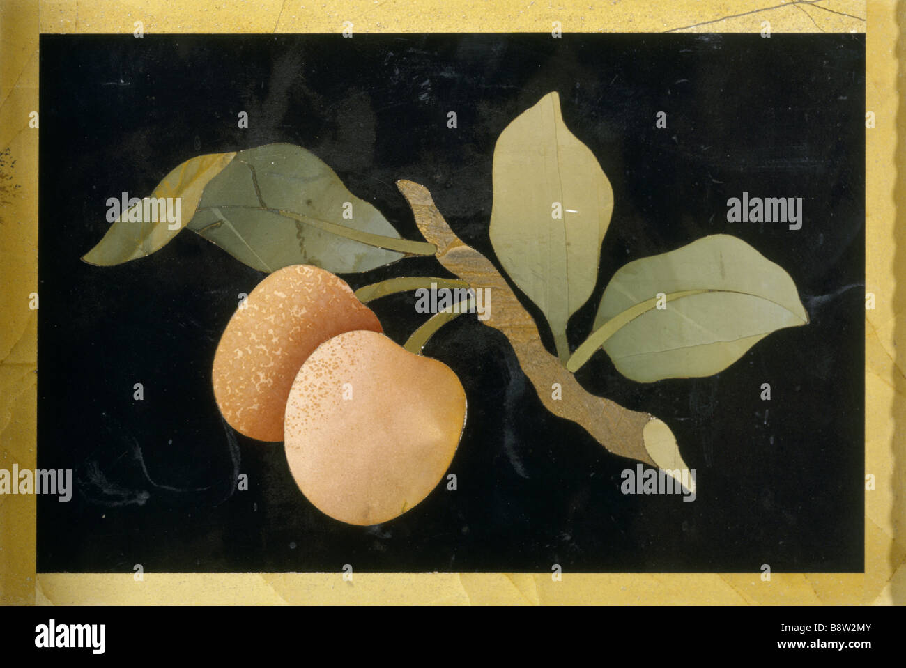 Detail Of Large Pietra Dura Cabinet In The Drawing Room Designed By William  Beckford Depicting Peaches On A Bow