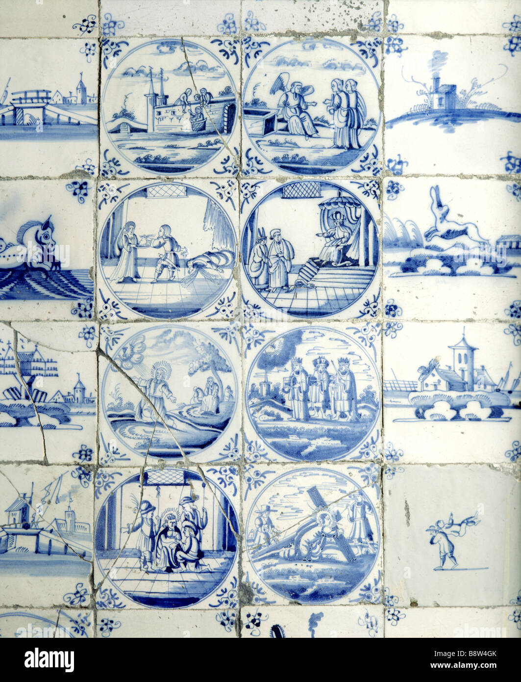 Close up details of ceramic tiles in fireplace in the Great Parlour at Chastleton House Stock Photo