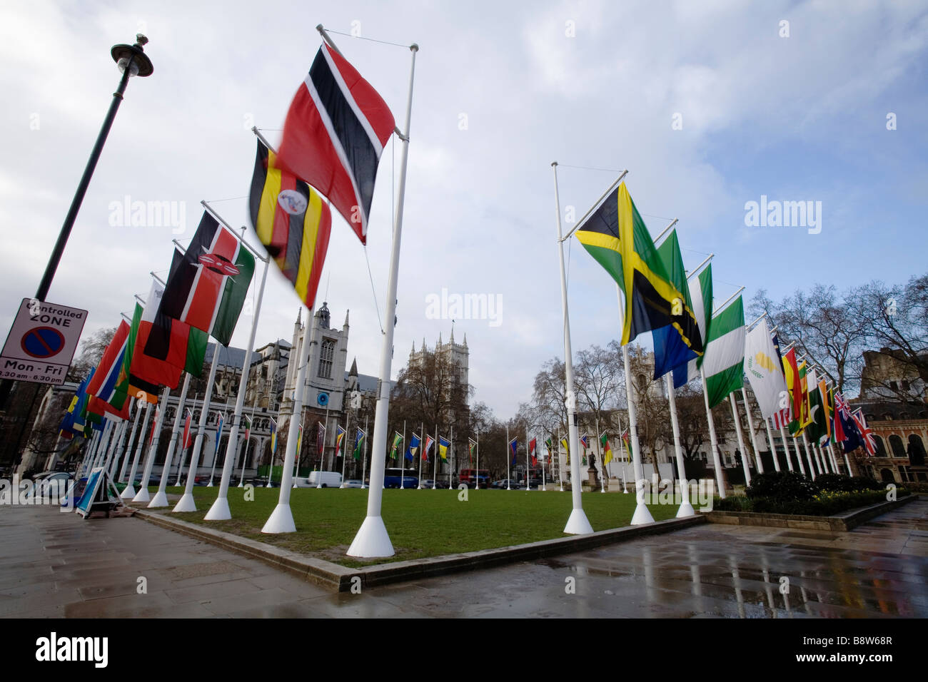 The Commonwealth Flags in Parliament Square - Stock Image