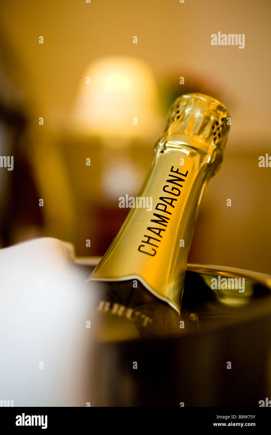 Champagne Bottle bedroom hotel Isle of Wight England UK - Stock Image