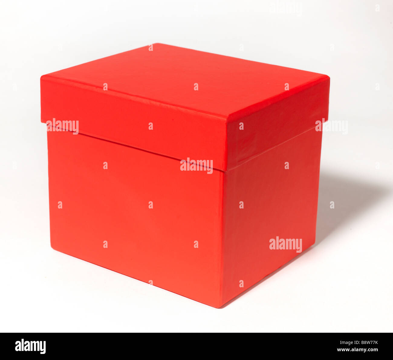 Red Gift Box Present - Stock Image