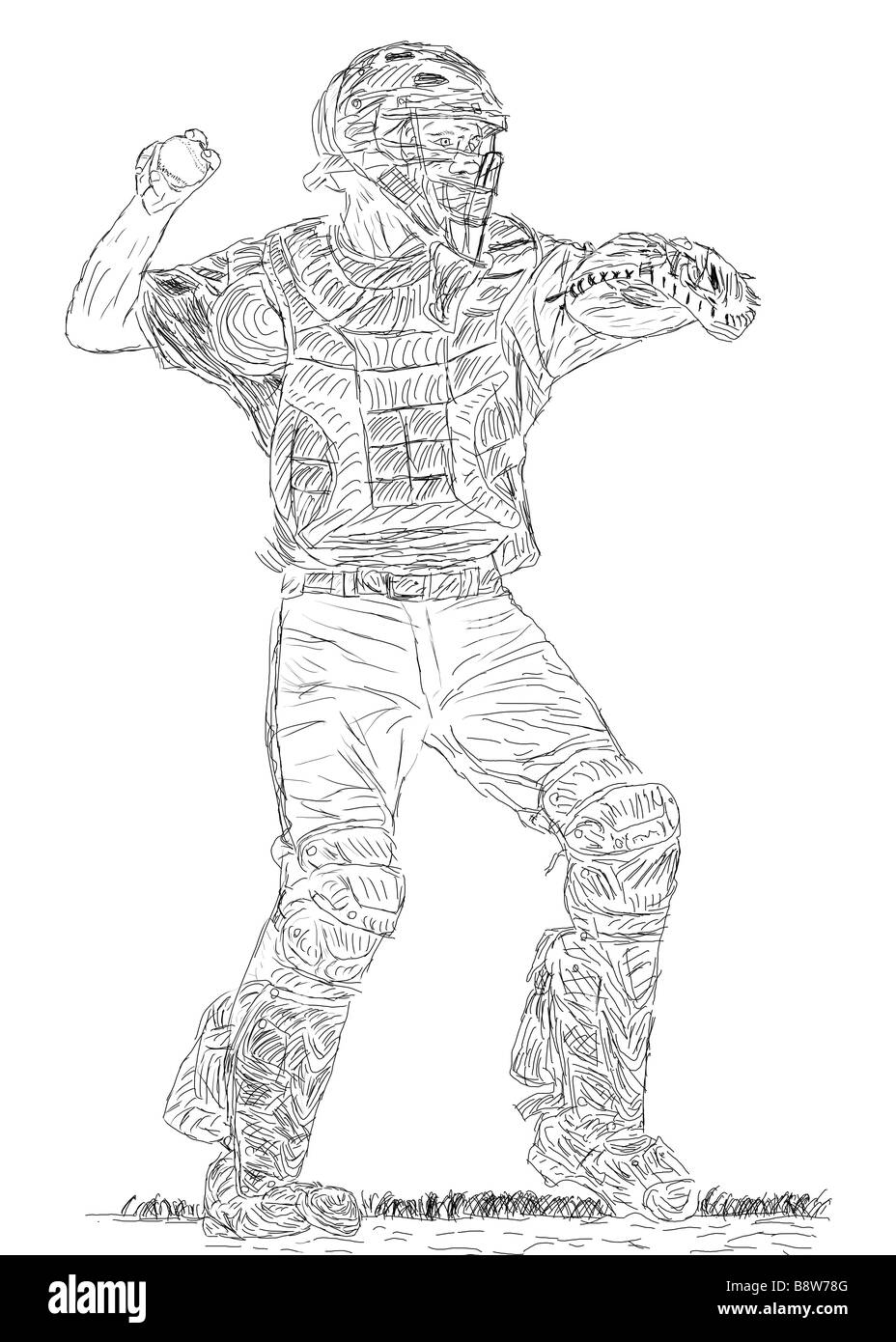 Pen And Ink Drawing Of A Baseball Catcher About To Throw The Ball
