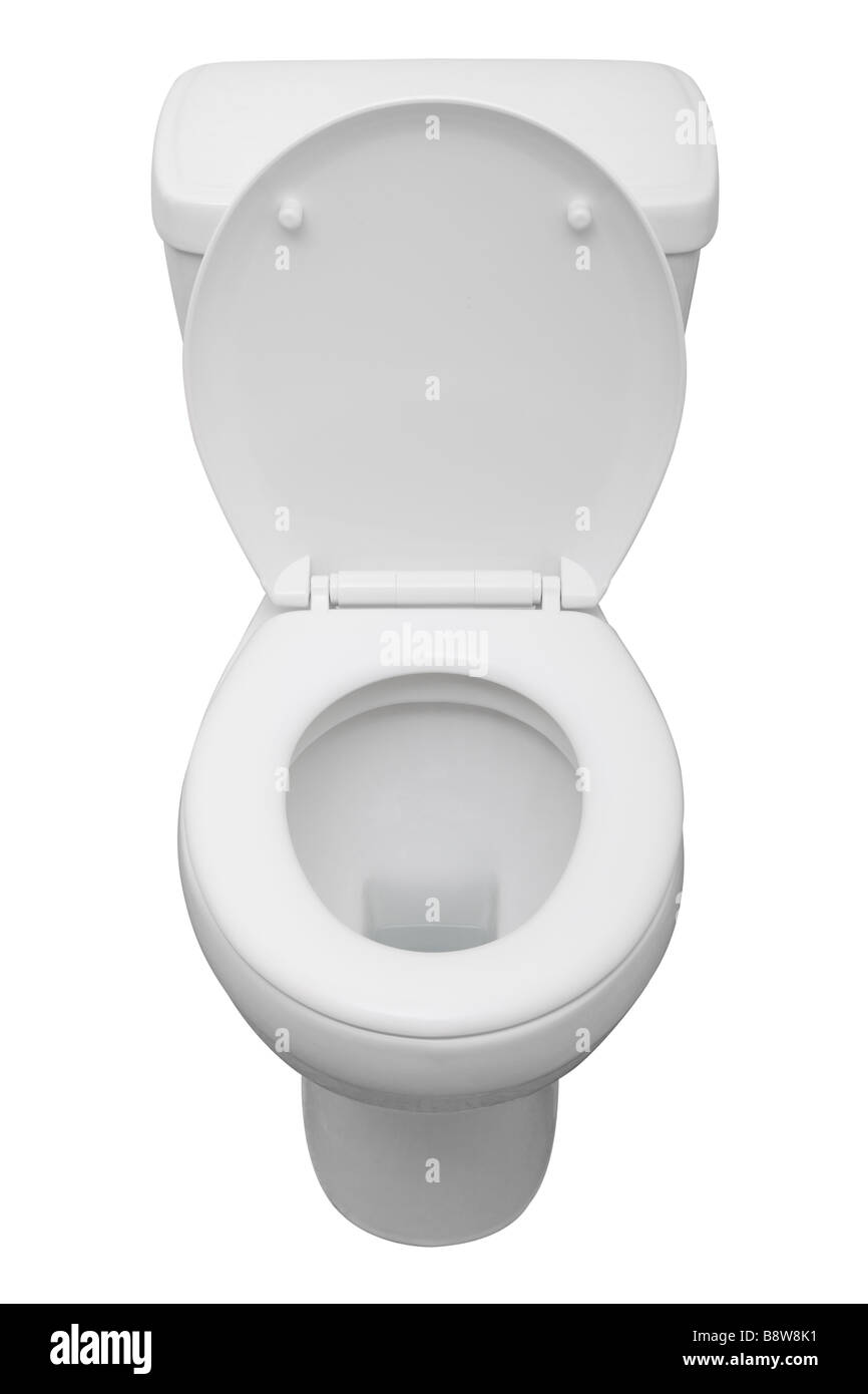 White ceramic toilet isolated on a white background with clipping path - Stock Image