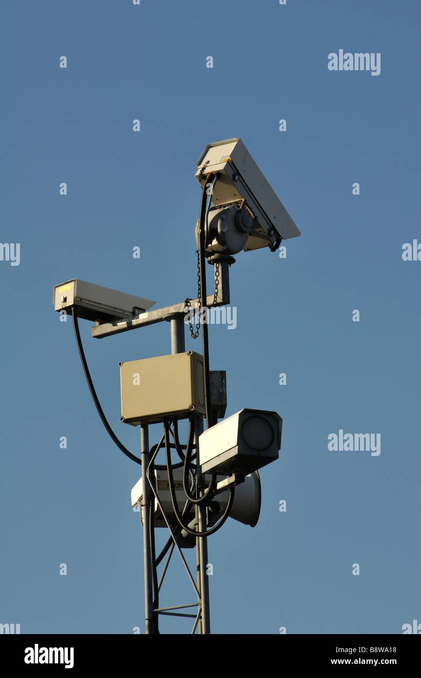 Closed circuit surveillance cameras at Birmingham International Airport, England, UK - Stock Image