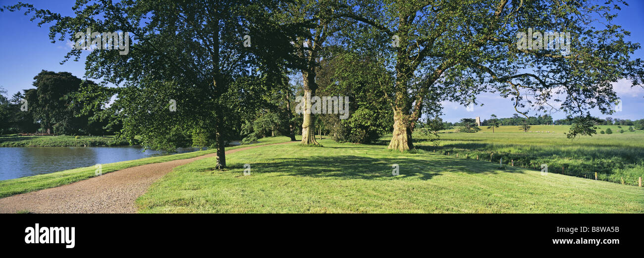 Capability Brown s first complete landscape park with lakeside gardens shrubberies and open parkland - Stock Image
