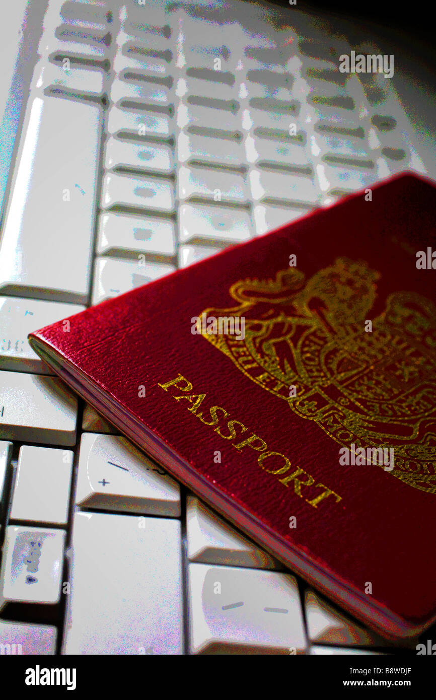 passport computer keyboard posterised Hotel Isle of Wight England UK - Stock Image