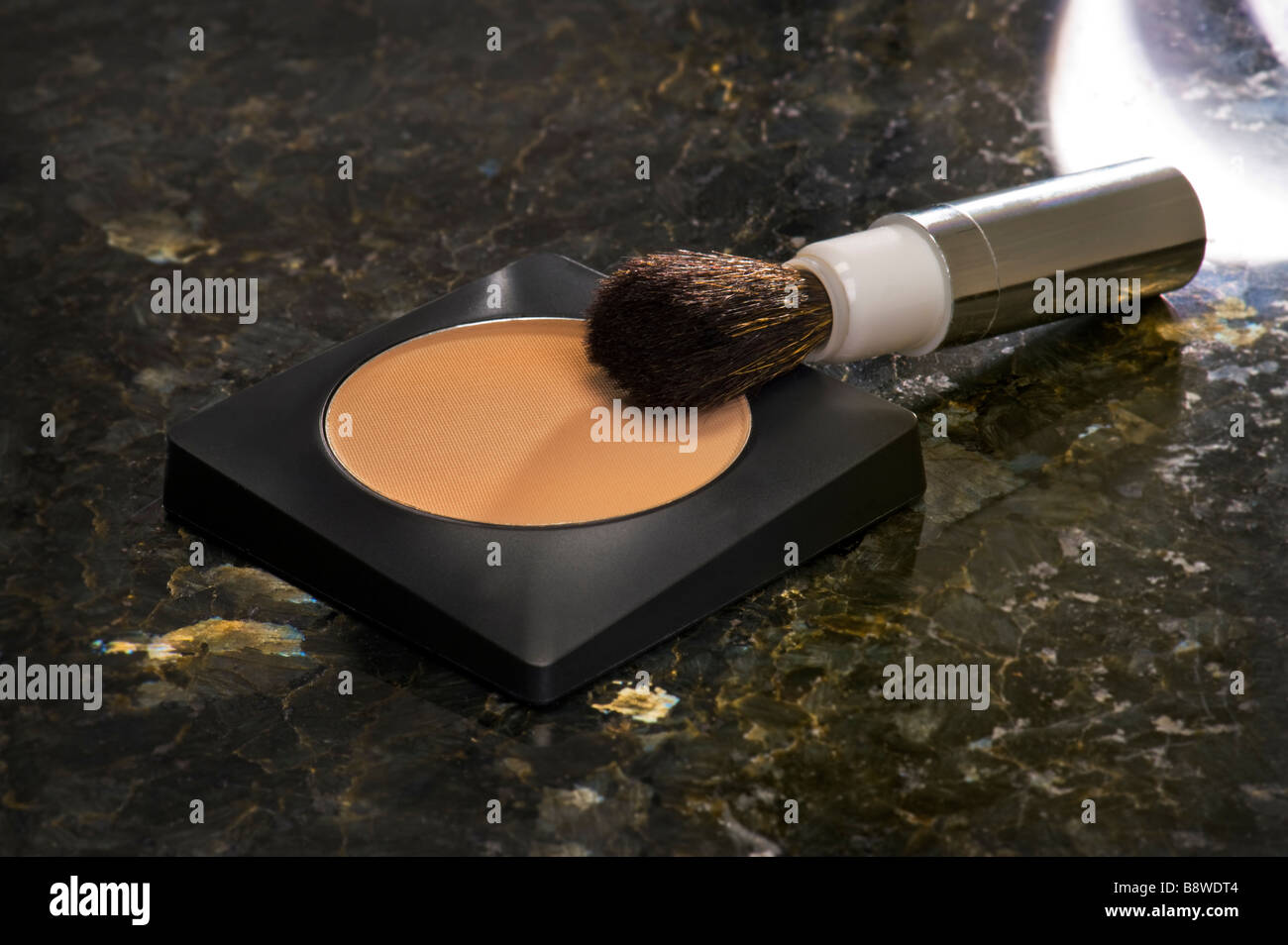 make up powder  accessory accessories paint painting and brush make oneself up paintbrush nice symbol symbolic vinta - Stock Image