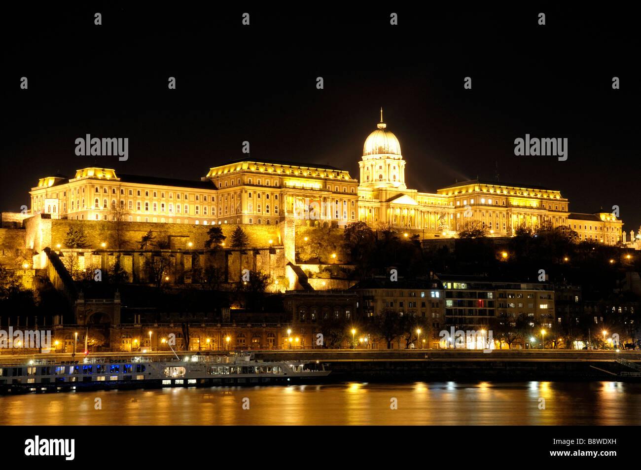 The floodlit Buda Castle Budapest, Hungary Stock Photo