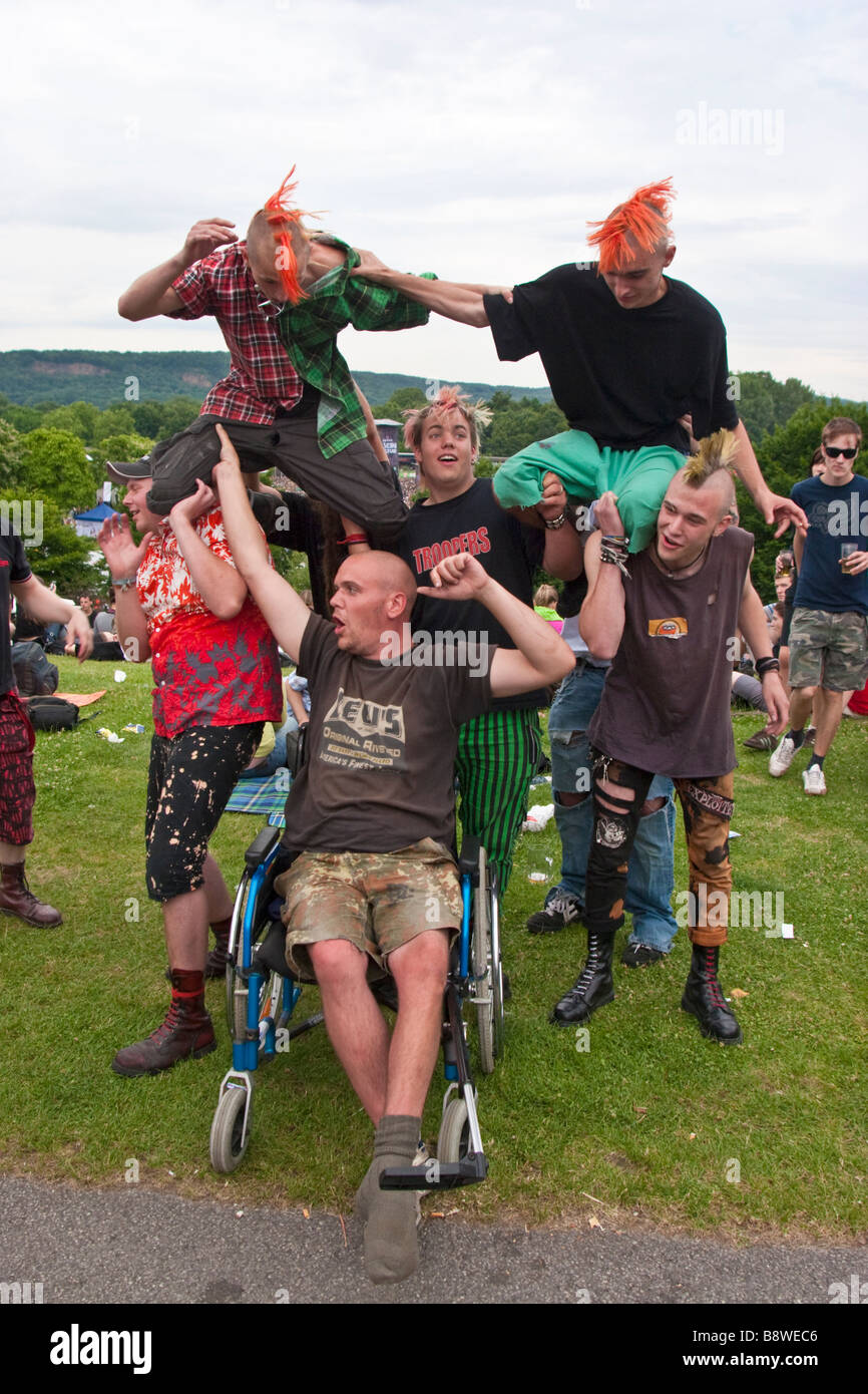 Punks during open air concert, Bonn , Germany - Stock Image