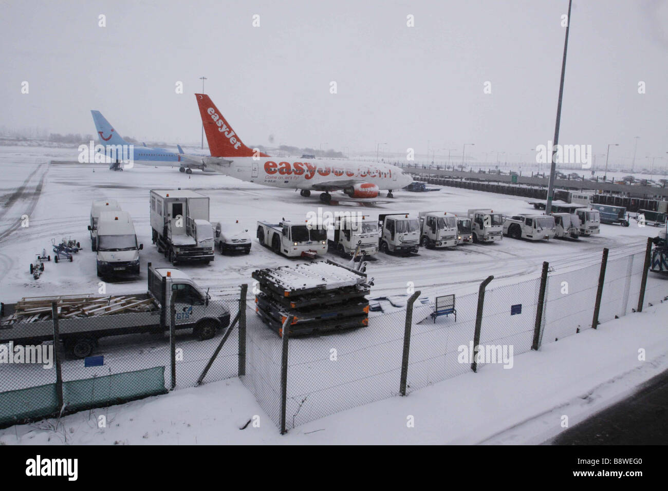 Luton Airport which was closed due to severe weather, February 2009 - Stock Image