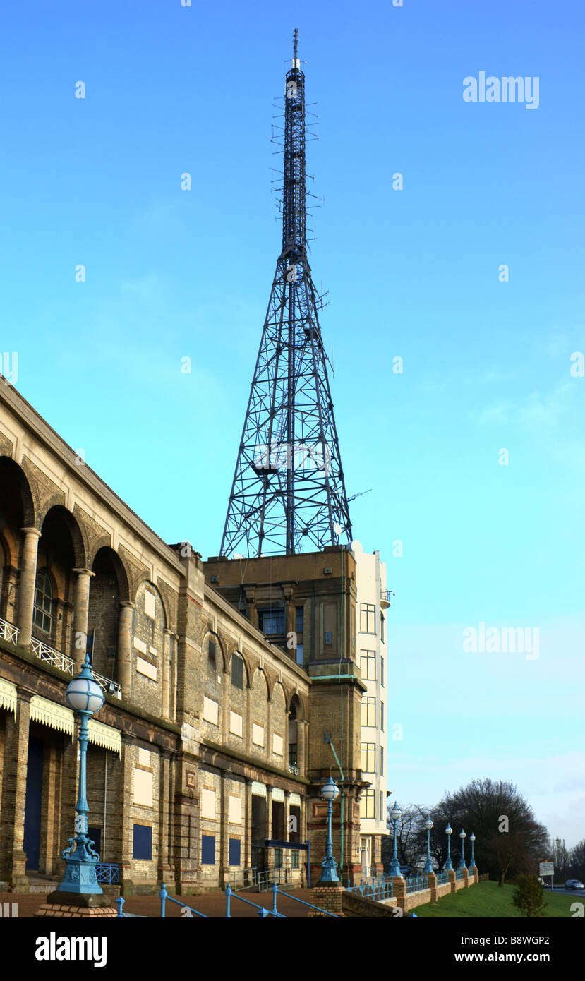 View of the eastfront of Alexandra Palace showing transmission tower - Stock Image