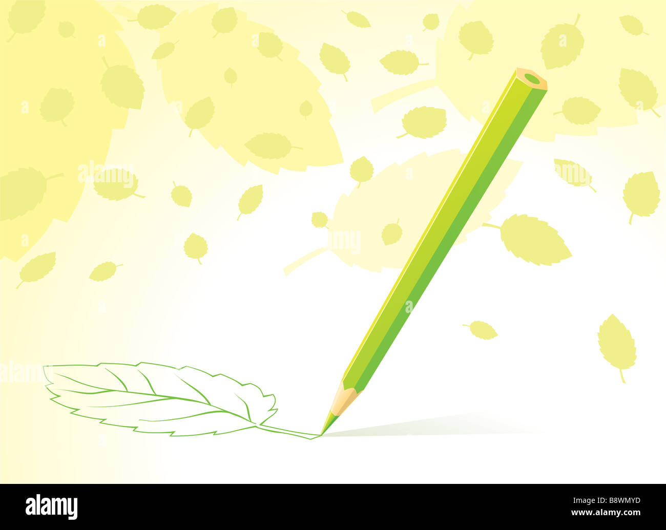 Illustration of the pen drawing green leaf - Stock Image