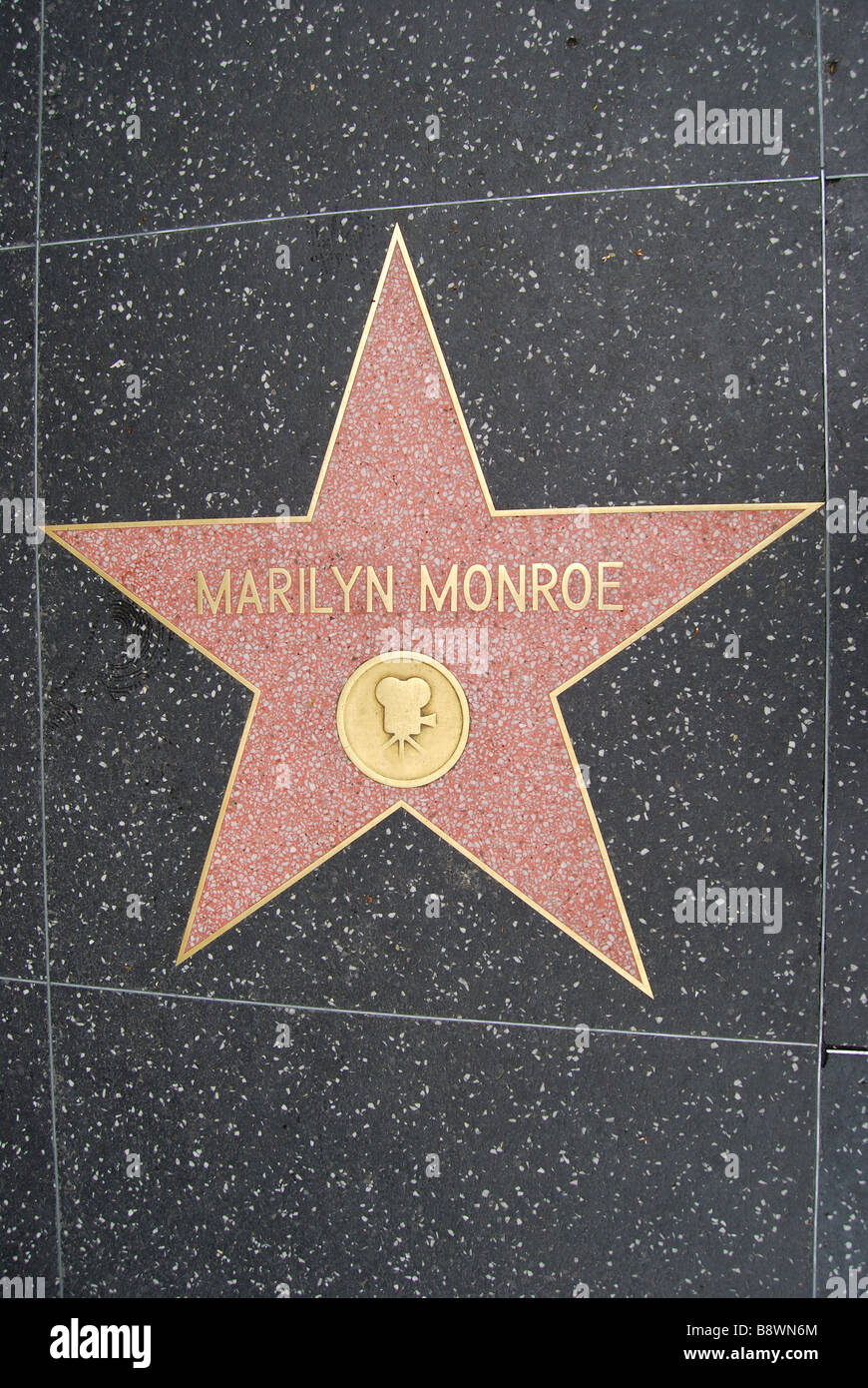 Marilyn Monroe star, Hollywood Walk of Fame, Hollywood Boulevard, Hollywood, Los Angeles, California, United States - Stock Image