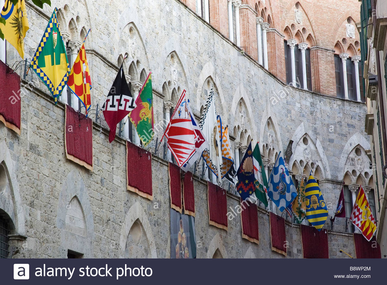 europe, italy, tuscany, siena, palio of siena, flags of the contrades of siena - Stock Image