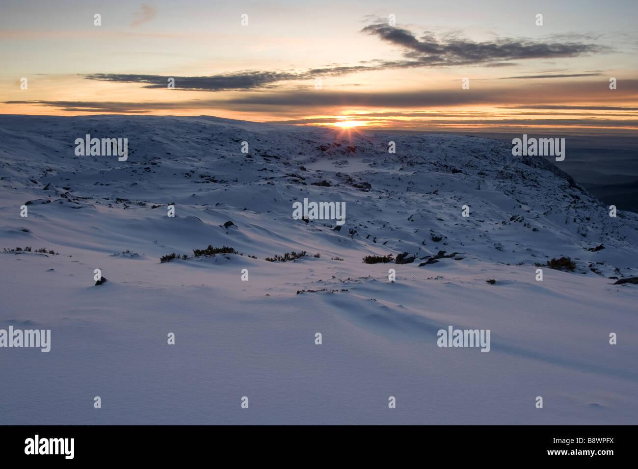 Winter sunset on the mountain Stock Photo