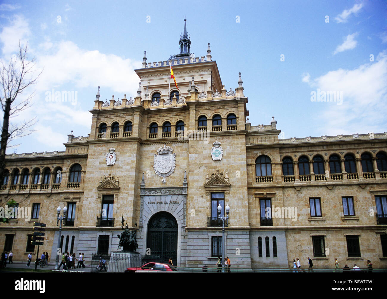 The Academia de Caballeria or Calvary Academy is a popular landmark on the Plaza Zorrilla in Valladolid Spain - Stock Image