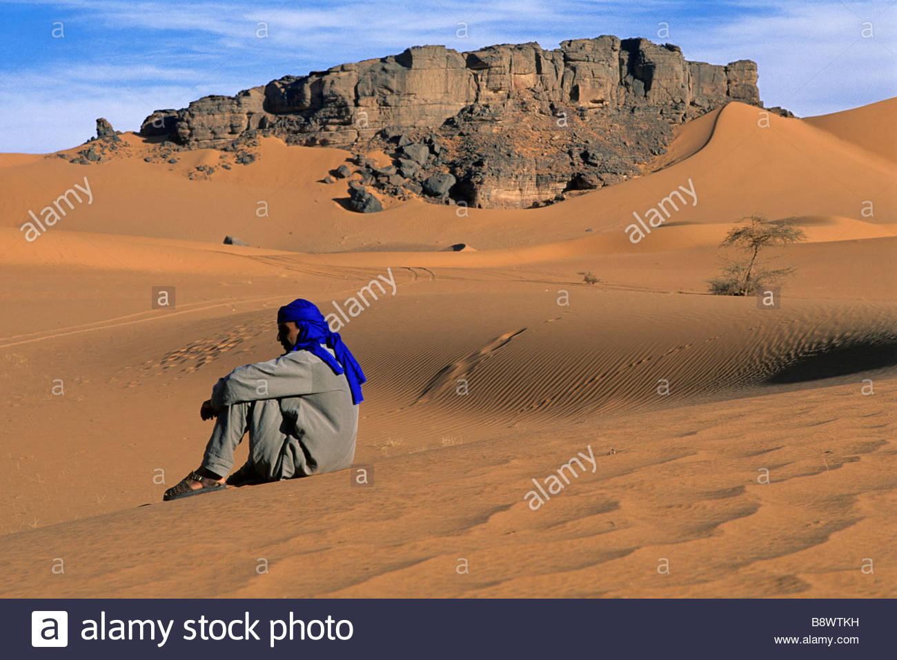 fezzan, desert lybian, tuareg, lybia, africa - Stock Image