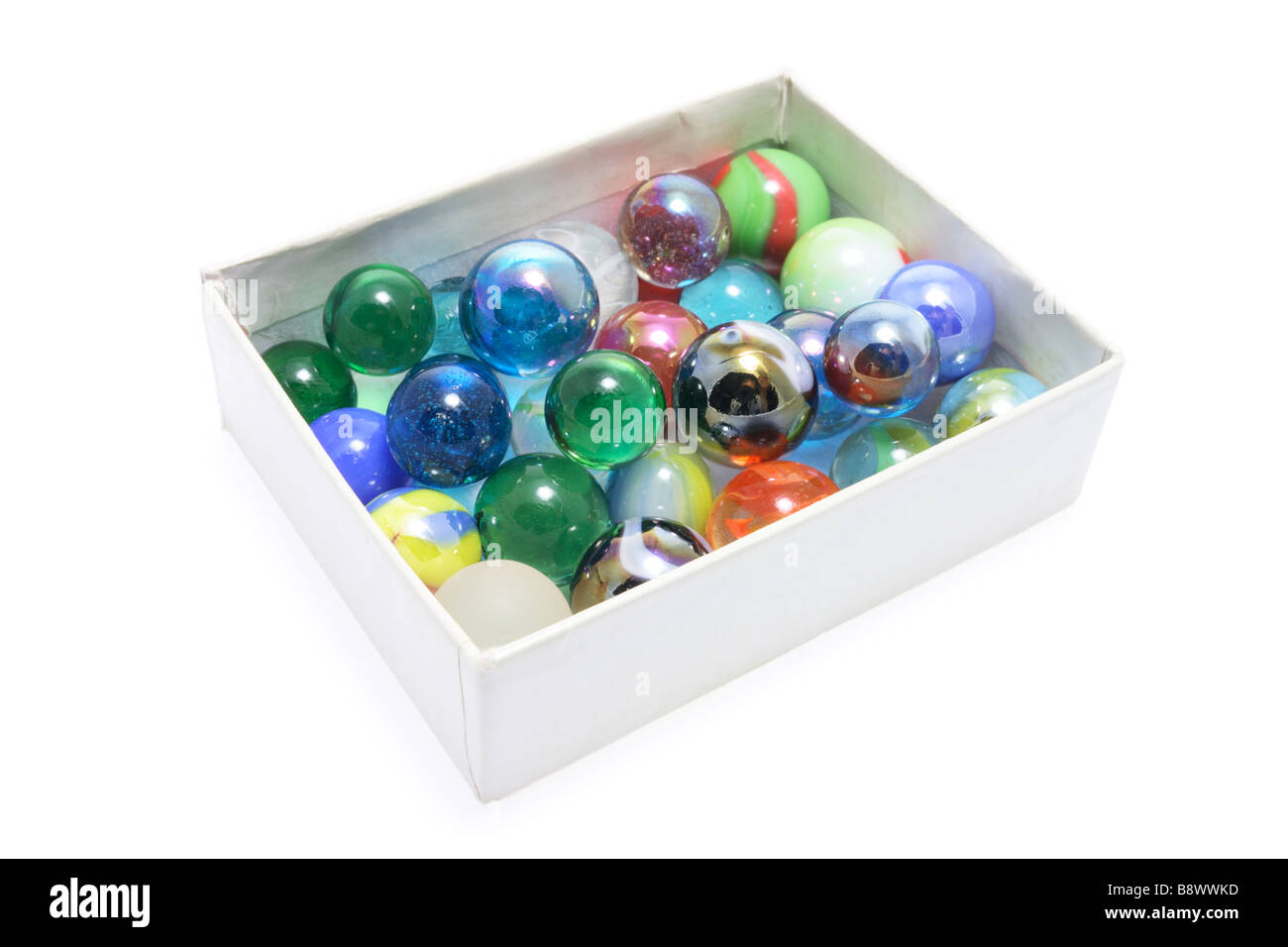 Box of Marbles - Stock Image