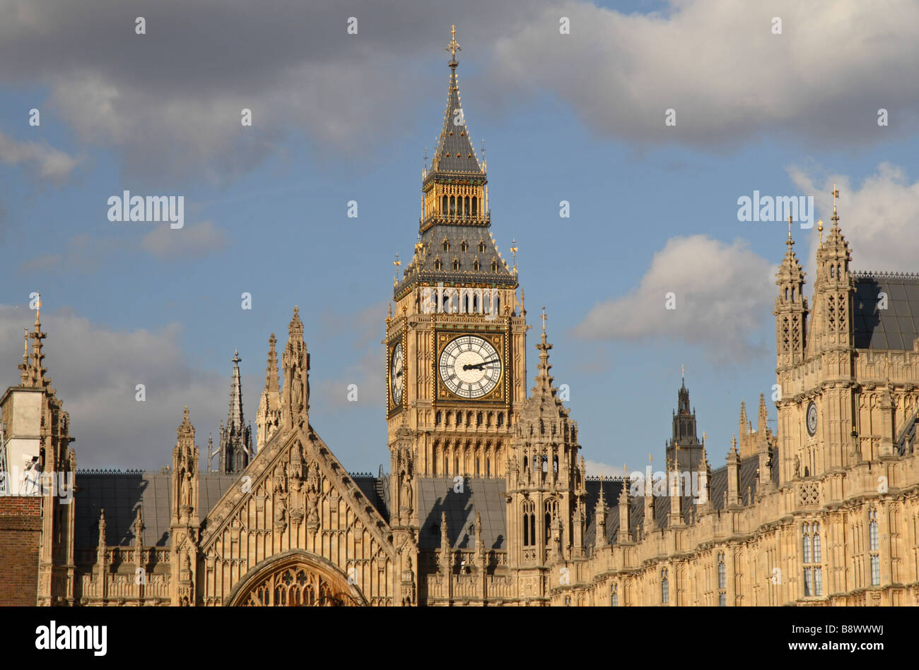 Elizabeth Tower or Big Ben and the Palace of Westminster in London England.  Mar 09 - Stock Image