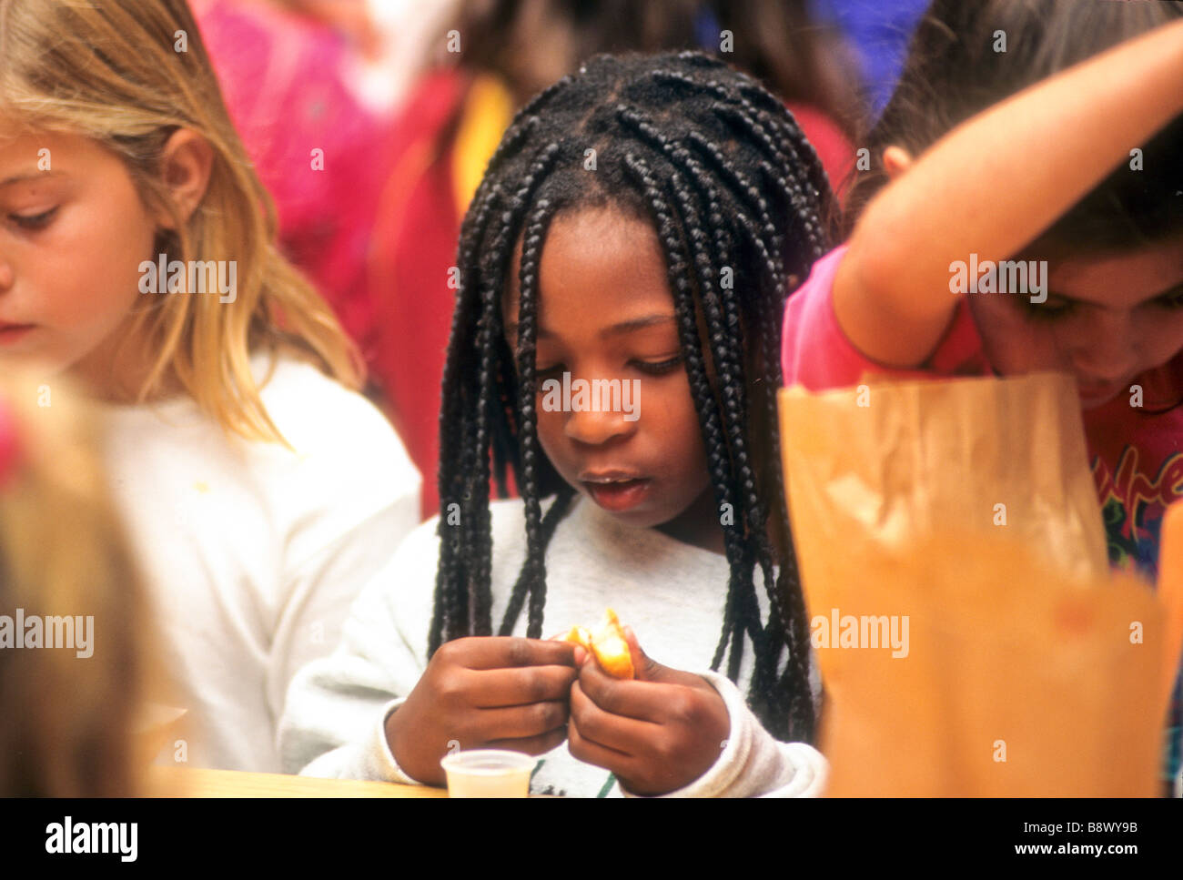 Black Girl Eat Lunch School Friend Dreadlock Hair Style Long Weave