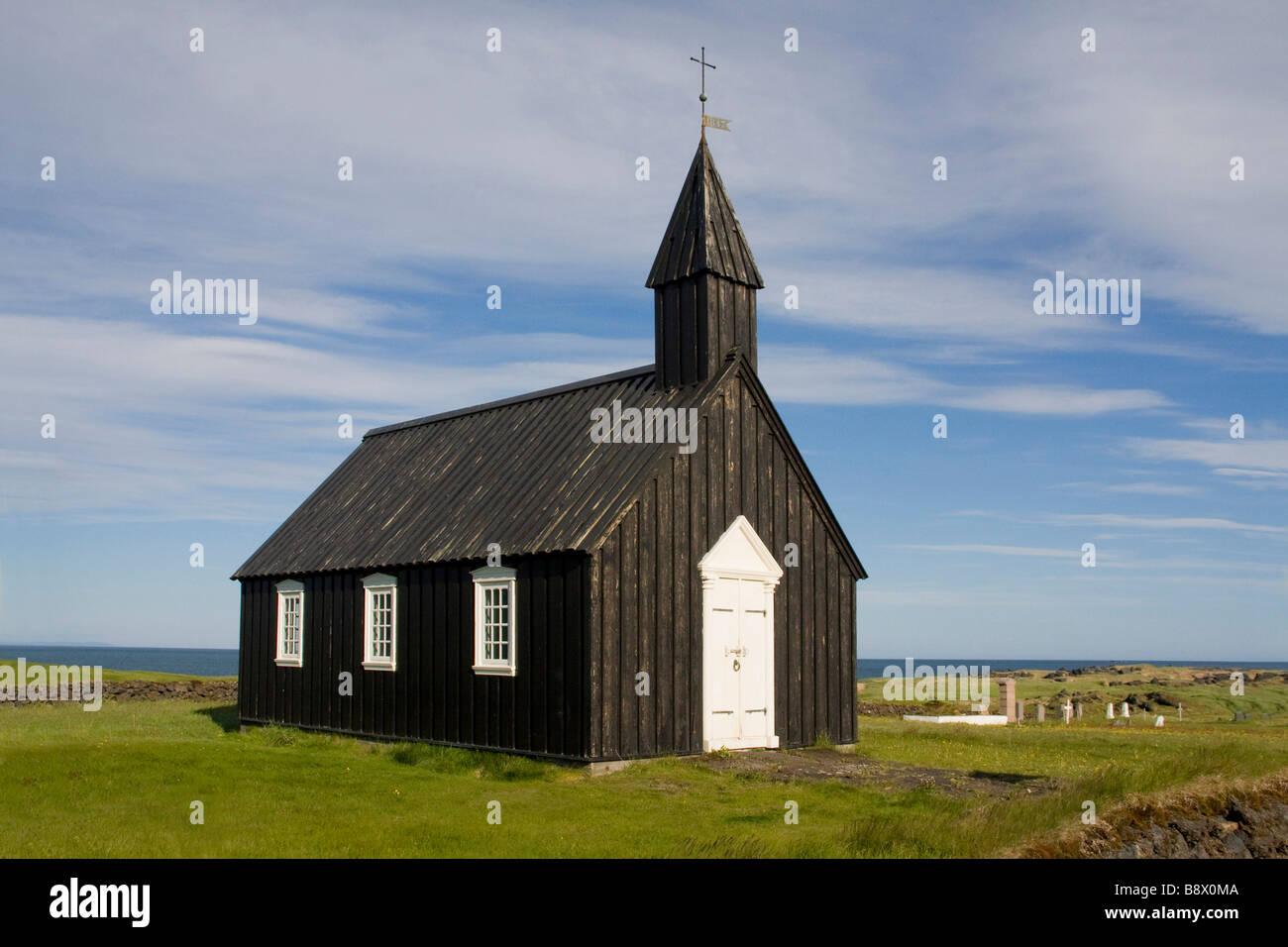 Facade of a church, Budir, Iceland - Stock Image
