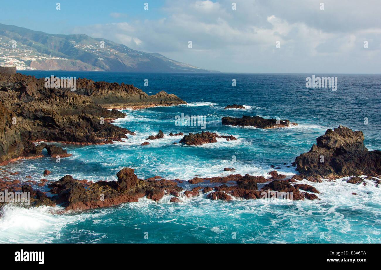 Atlantic coast by Santa Cruz de la Palma La Pama Canary Island Spainish Isla Bonita - Stock Image