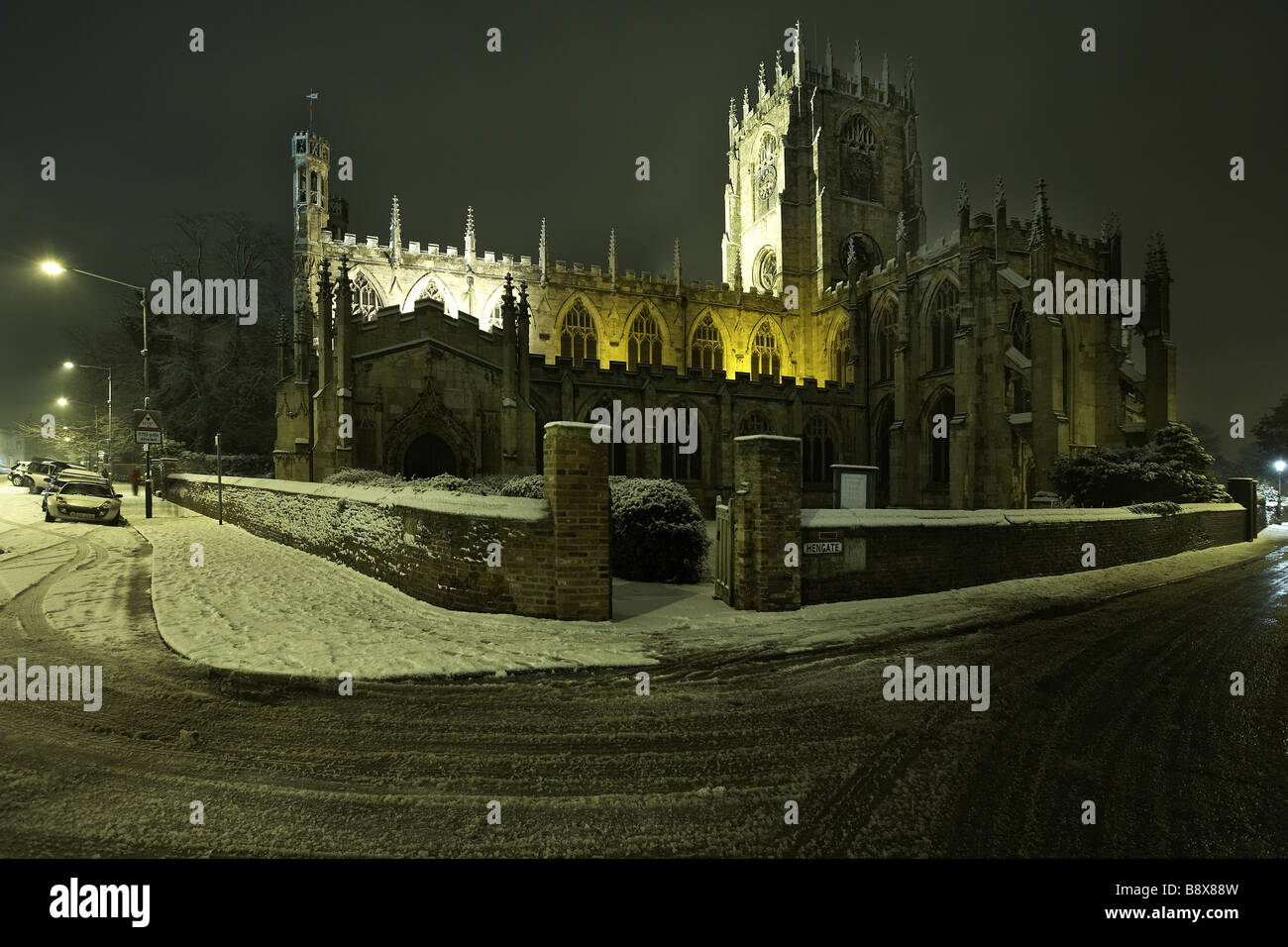 St Mary s church carpeted in snow Beverley East Yorkshire UK - Stock Image
