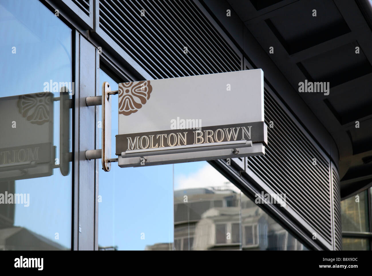 A sign above the Molton Brown beauty products store in Victoria, London. Mar 2009 - Stock Image