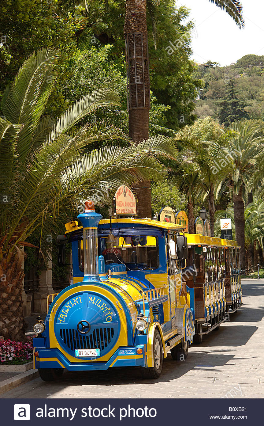 small train, alassio, liguria, italy - Stock Image