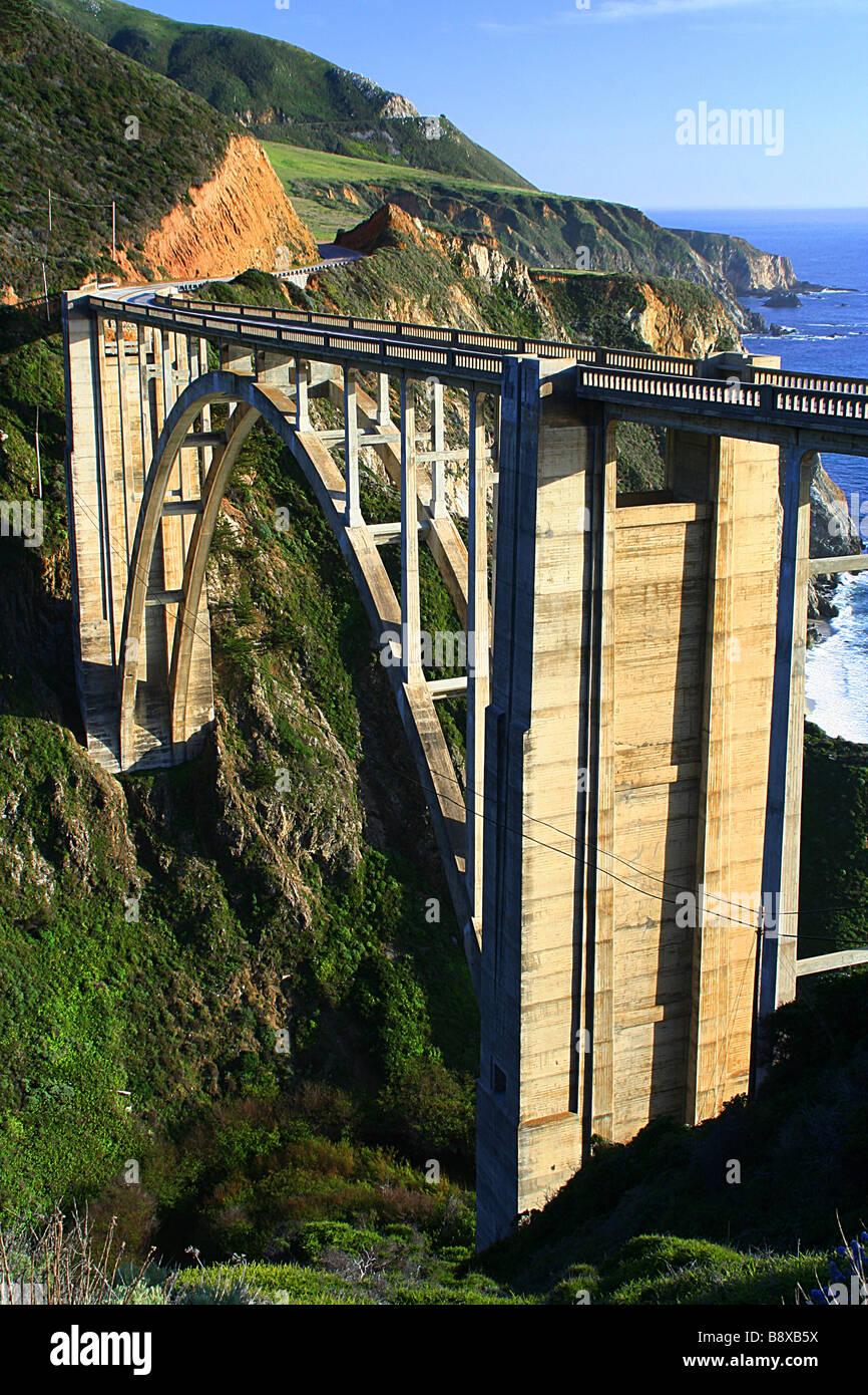 High angle view of an arch bridge, Bixby Creek Arch Bridge, Big Sur, California, USA Stock Photo