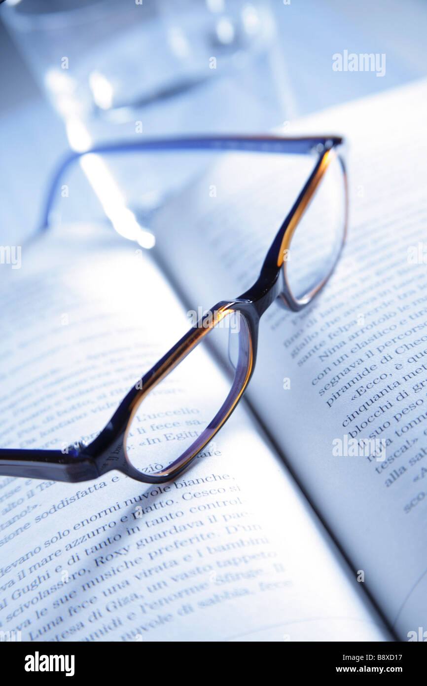 book, spectacles - Stock Image