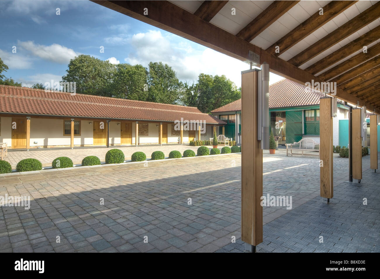 Enclosed landscaped courtyard - Stock Image