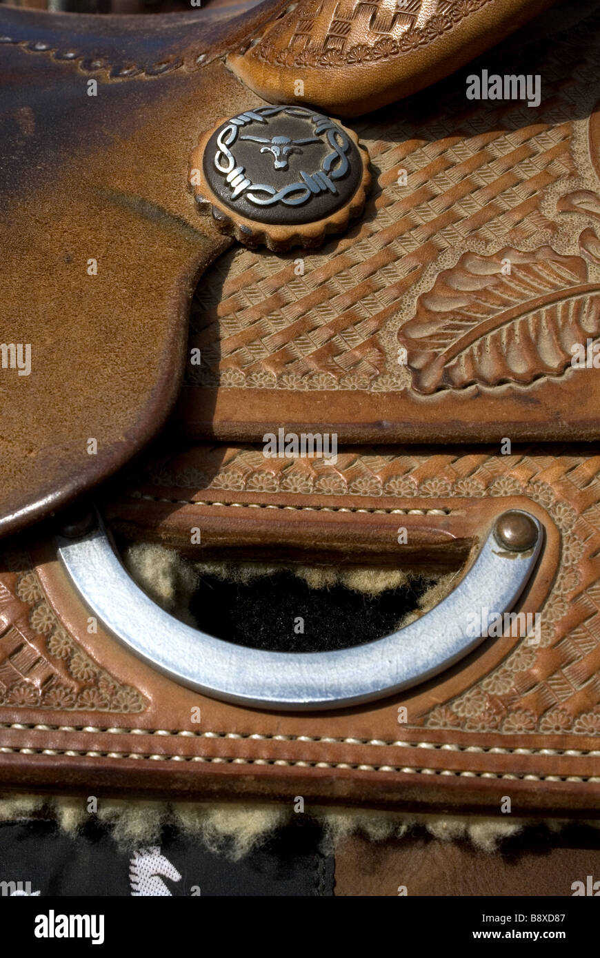 Leather Saddle Detail with Leaf Pattern - Stock Image