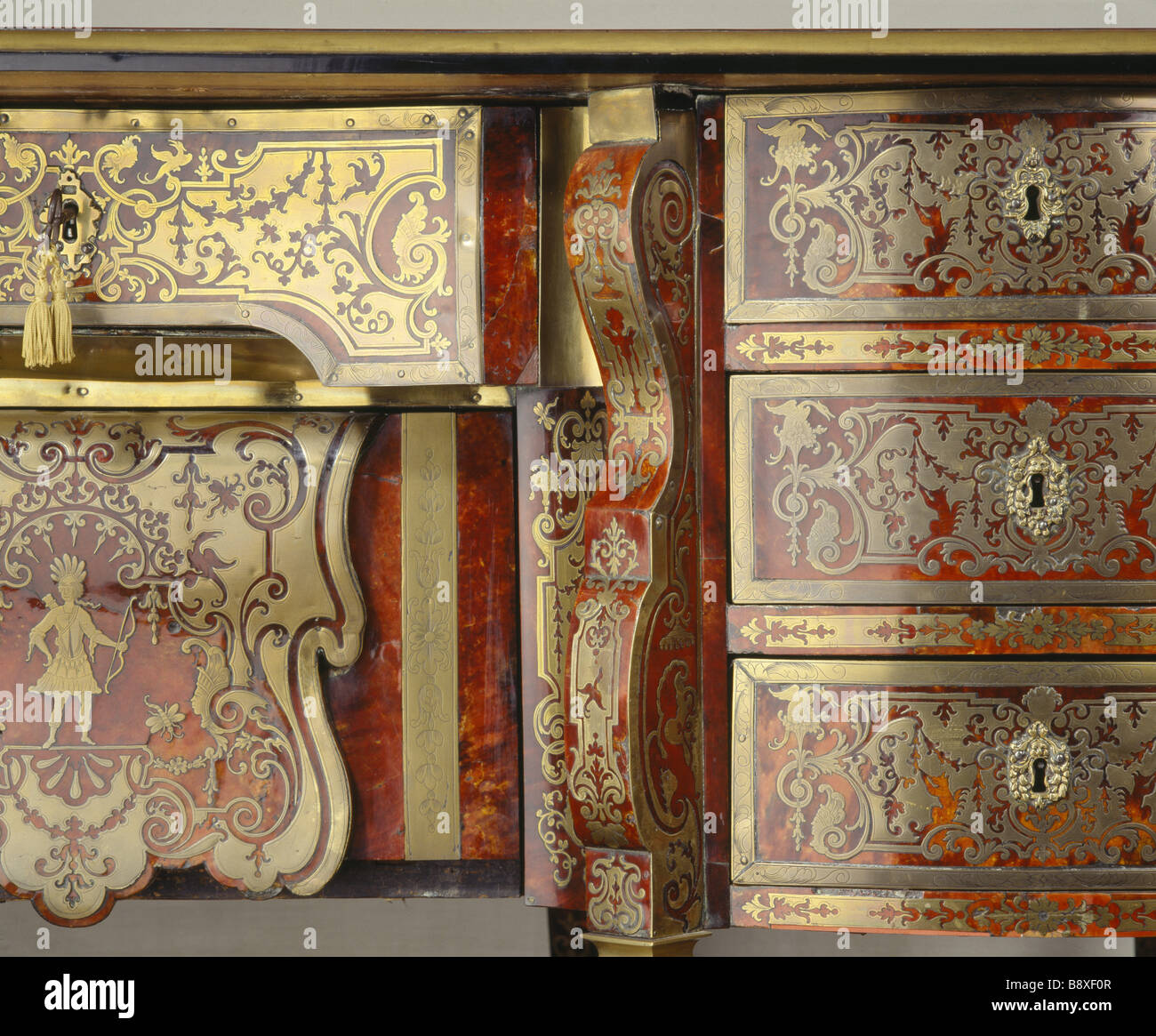 The Boulle Cabinet Felbrigg Hall Detail of a Louis XV tortoiseshell and brass Boulle Stock Photo