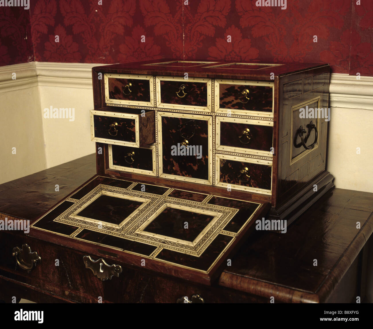Close-up of opened sewing cabinet in the Little Chamber. Stock Photo