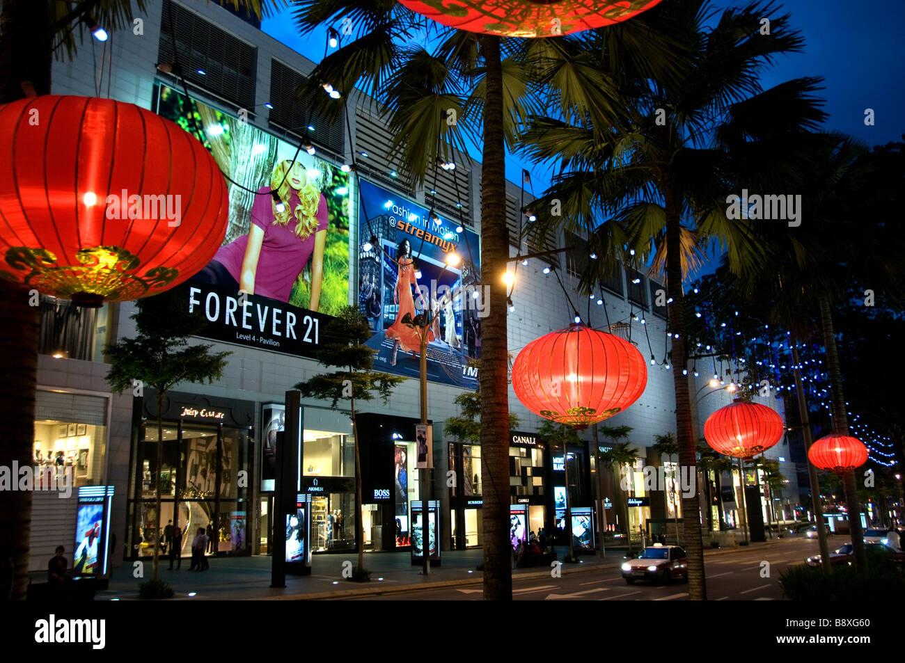 Kuala Lumpur Malaysia Bukit Bintang Star Hill Gallery at night Pavilion Stock Photo
