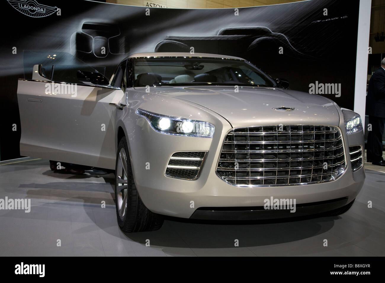 Aston Martin Lagonda shown at a European motor show. - Stock Image