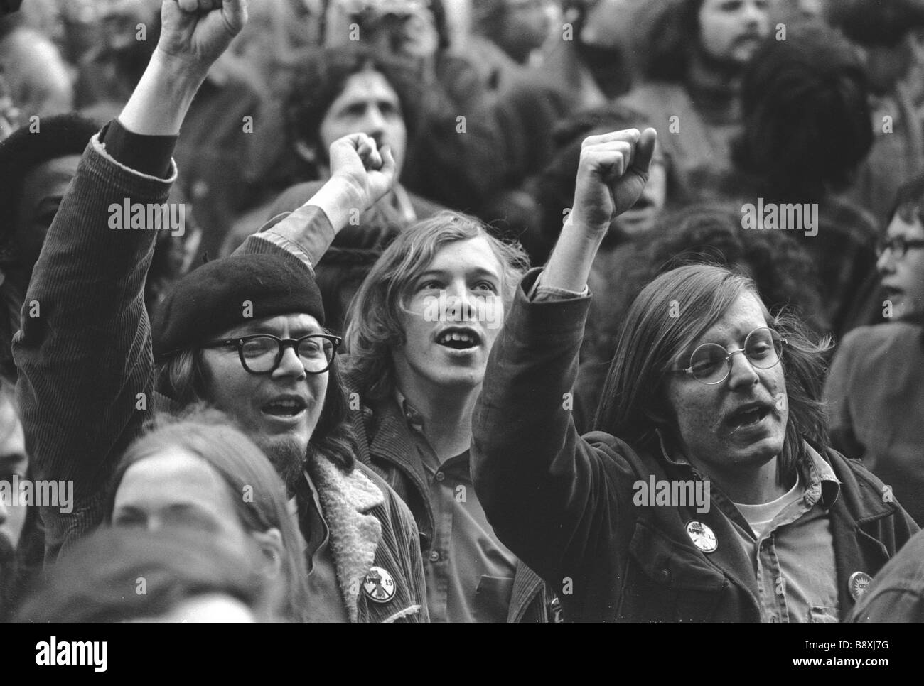 Anti Vietnam War protesters gather for a rally on The Common in Boston Massachusetts on April 15 1970 - Stock Image