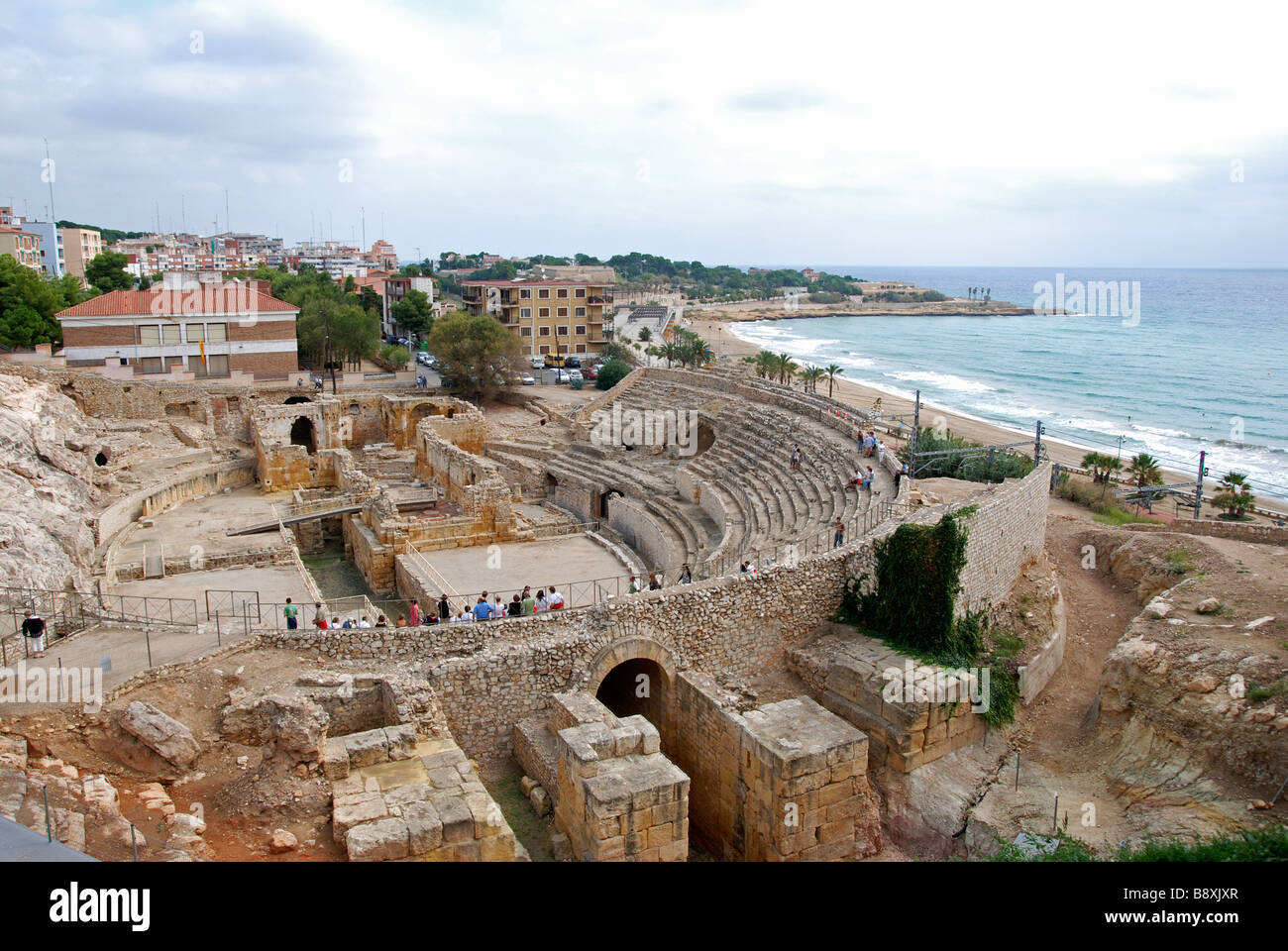 the ancient ruins of a roman amphitheatre at tarragona, catalonia,spain - Stock Image