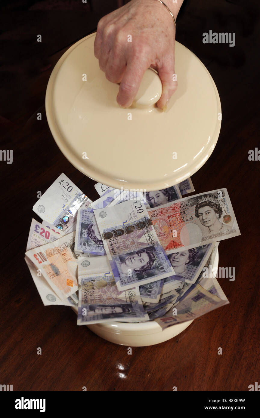 Pot of money - Stock Image