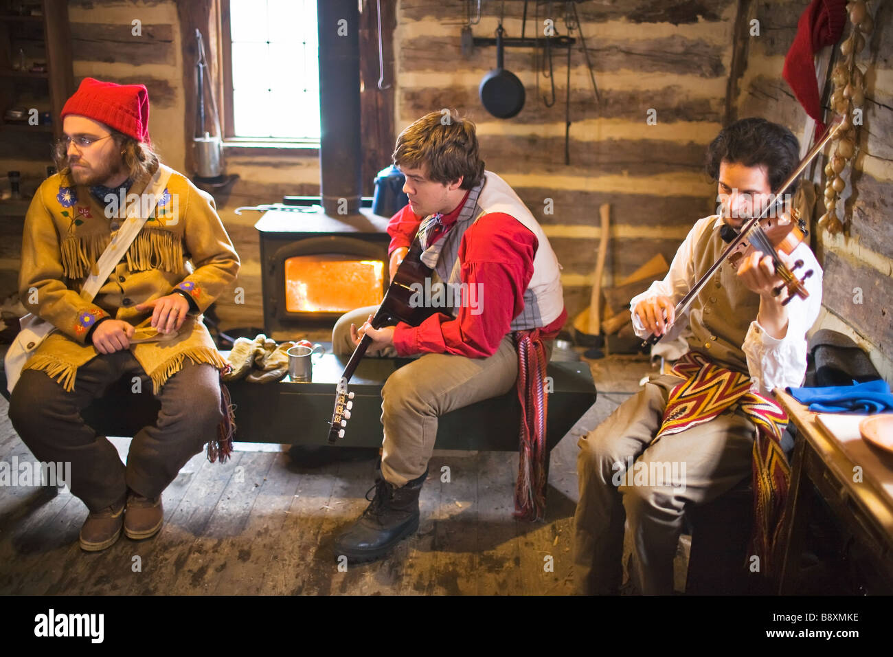 French Canadian musicians, at The Festival Du Voyageur.  Winnipeg, Manitoba Canada. - Stock Image