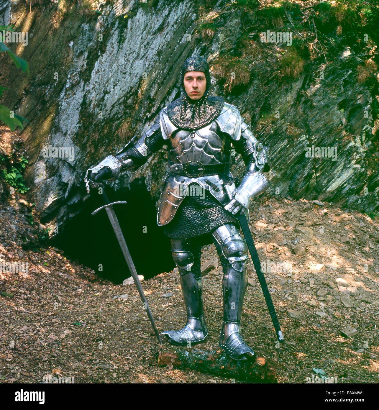 Medieval knight in shining armour with sword Wales UK  KATHY DEWITT - Stock Image