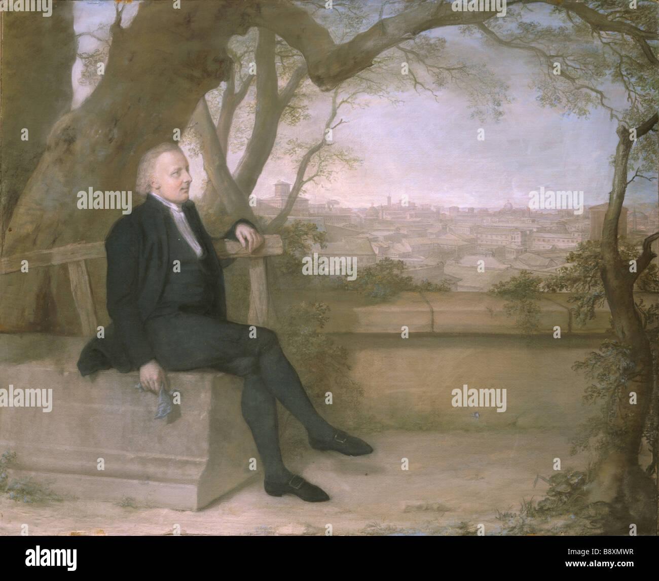 EARL-BISHOP ON THE PINCIO by Hugh Douglas Hamilton (1739 - 1808) at Ickworth. - Stock Image