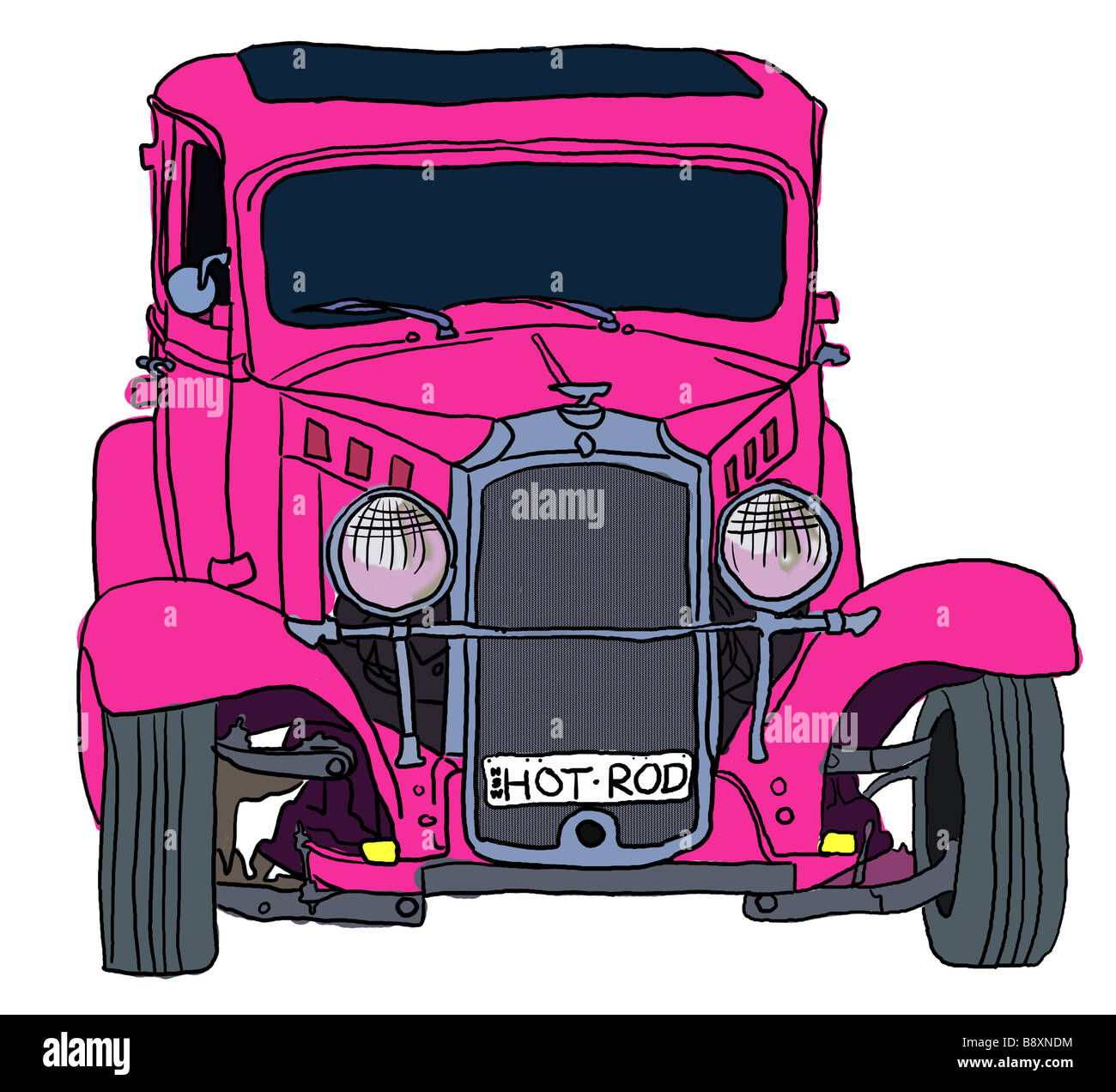 Illustration of Pink Hot Rod Stock Photo
