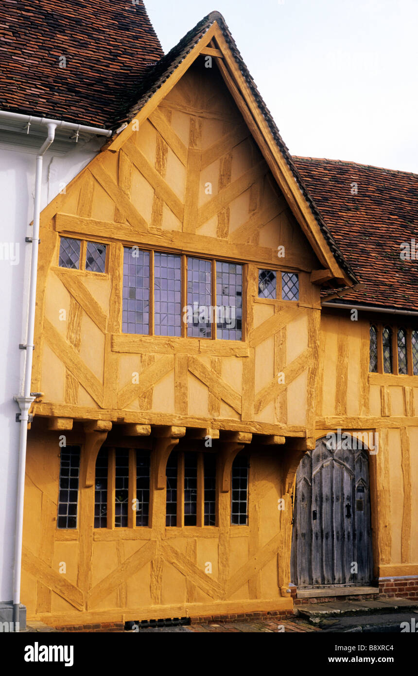 Terracotta timbered house Lady Street Lavenham Suffolk England East Anglia UK charm charming old English building - Stock Image