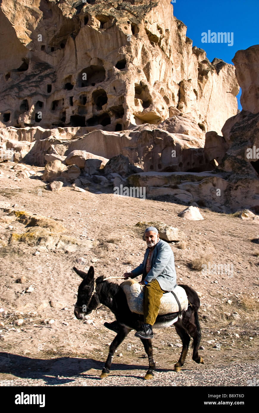Man on a donkey Capadoccia, Turkey, Asia. - Stock Image