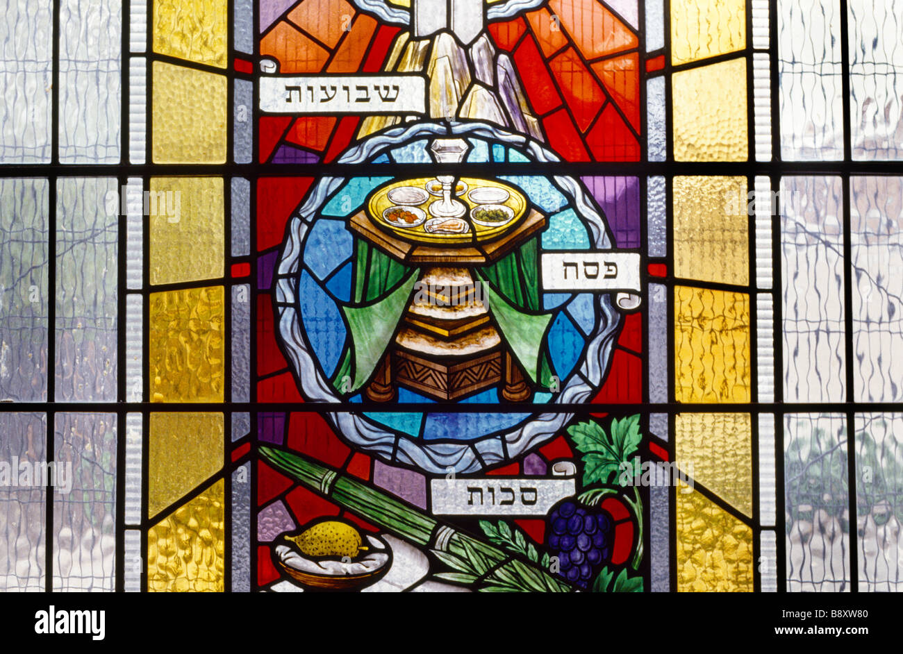 Stained Glass Window Of Passover Table Seder Plate And Cup - Stock Image