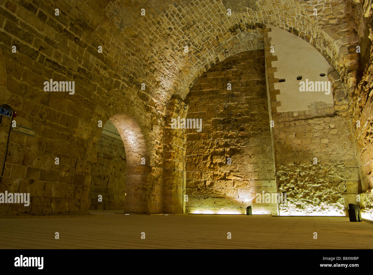 Restored Templar Knights Halls that had been completely filled with rubble from construction of great Ottoman era - Stock Image